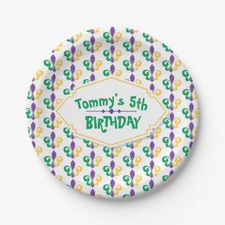 Mardi Gras Birthday Party Paper Plate