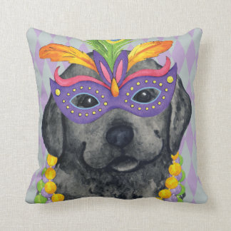 Mardi Gras Black Lab Throw Pillow