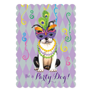 Mardi Gras Boston Terrier Card