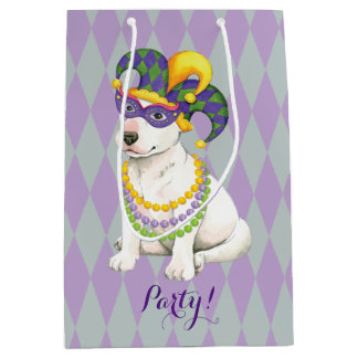 Mardi Gras Bull Terrier Medium Gift Bag
