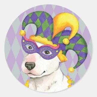 Mardi Gras Bull Terrier Round Sticker