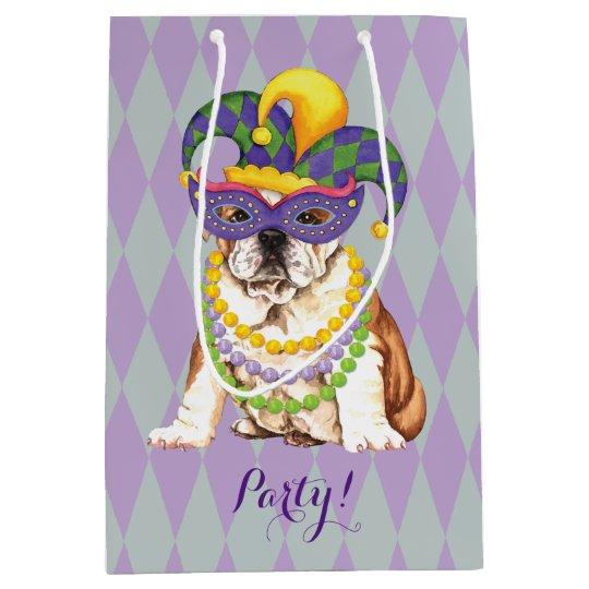 Mardi Gras Bulldog Medium Gift Bag