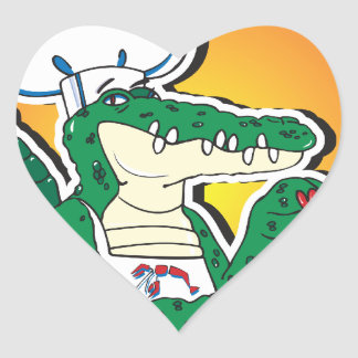 Mardi Gras Cajun Crocodile Heart Sticker