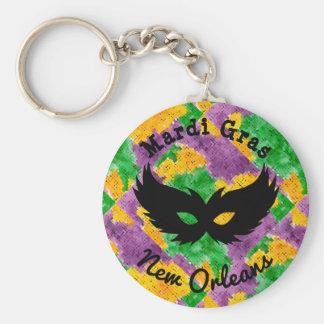 Mardi Gras Camouflage Mask Keychain