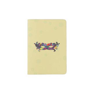 Mardi Gras Carnival Mask - Black Pink Yellow Blue Passport Holder