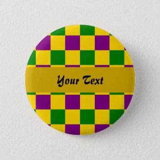 Mardi gras checkered pattern 2 inch round button