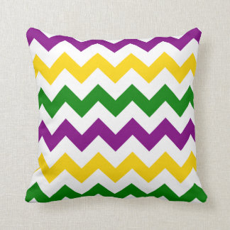 Mardi Gras Chevron Pattern Throw Pillow