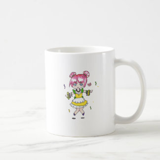 mardi gras  chibi with parade beads coffee mug