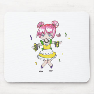 mardi gras  chibi with parade beads mouse pad