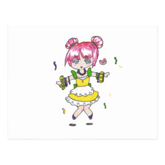 mardi gras  chibi with parade beads postcard