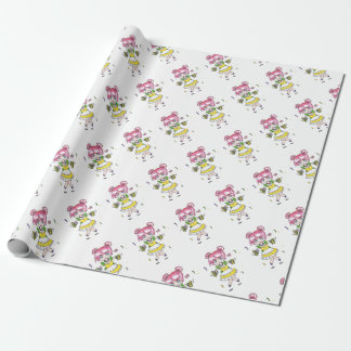 mardi gras  chibi with parade beads wrapping paper