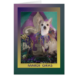 Mardi Gras Chihuahua in Costume Card