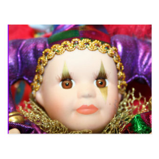 Mardi Gras clown doll Postcard