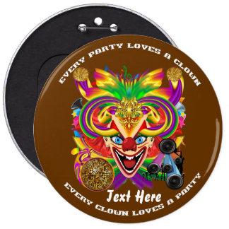 Mardi Gras Clown  view notes please 6 Inch Round Button