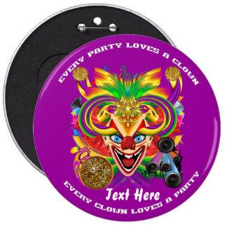 Mardi Gras Clown  view notes please Button