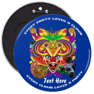 Mardi Gras Clown view notes please Pinback Buttons
