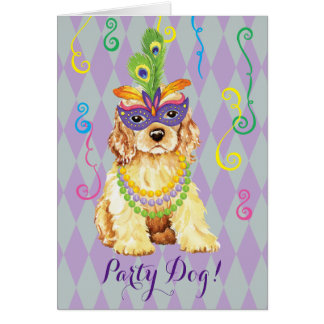 Mardi Gras Cocker Spaniel Card