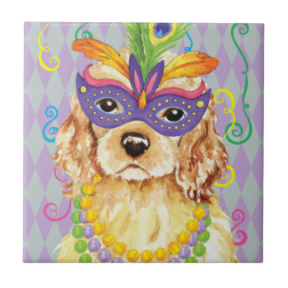 Mardi Gras Cocker Spaniel Tile