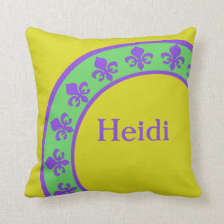 Mardi Gras Colors Custom Designer Pillow