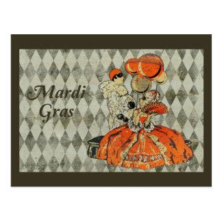 Mardi Gras Costume Couple Postcard