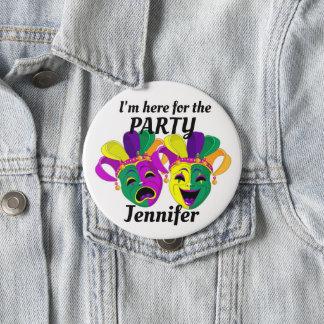 Mardi Gras Custom Name PARTY Button Mardigras