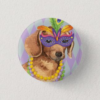 Mardi Gras Dachshund 1 Inch Round Button