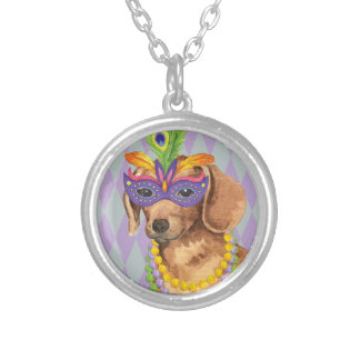 Mardi Gras Dachshund Silver Plated Necklace