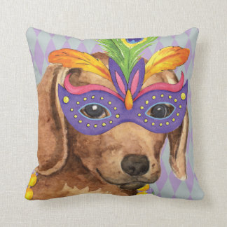 Mardi Gras Dachshund Throw Pillow