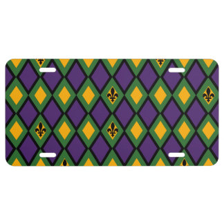 Mardi Gras Diamond Pattern With Fleur De Lis License Plate