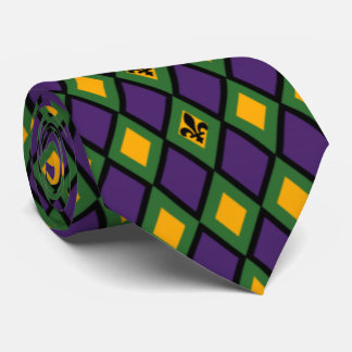Mardi Gras Diamond Pattern With Fleur De Lis Tie