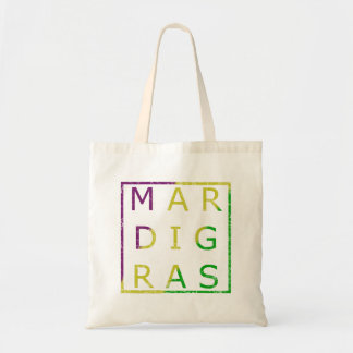 Mardi Gras Distressed Green, Purple and Gold Tote
