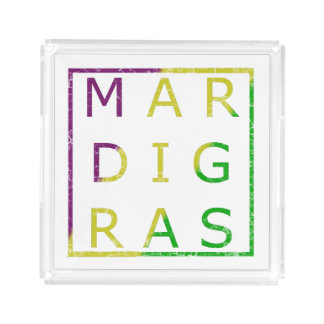 Mardi Gras Distressed Green, Purple and Gold Tray