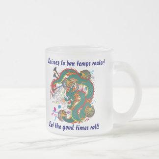 Mardi Gras Dragon  View notes please 10 Oz Frosted Glass Coffee Mug