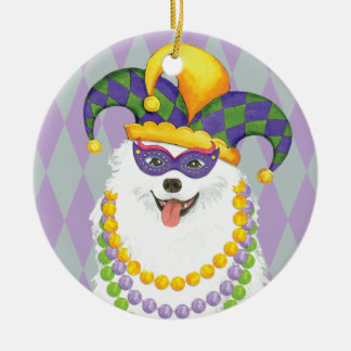 Mardi Gras Eskie Ceramic Ornament
