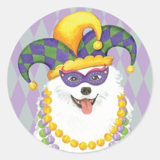 Mardi Gras Eskie Classic Round Sticker