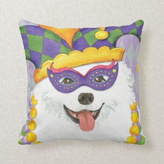 Mardi Gras Eskie Throw Pillow