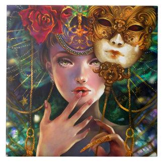 Mardi Gras Fancy Surreal Masquerade Mask Girl Art Tile