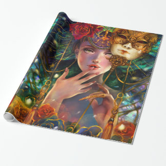 Mardi Gras Fancy Surreal Masquerade Mask Girl Art Wrapping Paper
