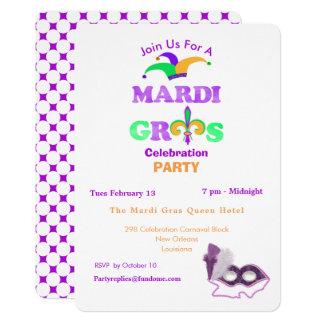 Mardi Gras Fat Tuesday Fun Party Theme Invite