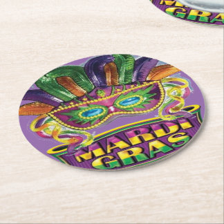 Mardi Gras Fat Tuesday New Orleans Party Coasters