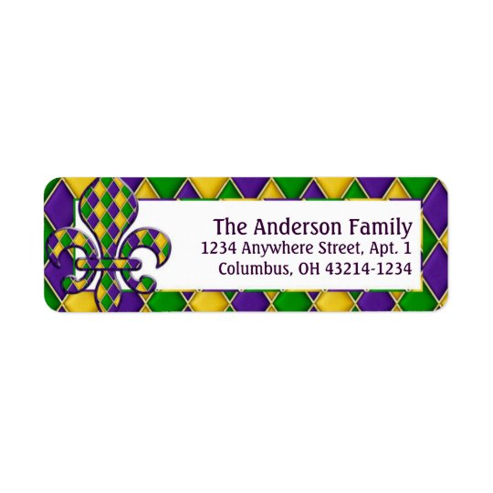 Mardi Gras Fleur d1 Return Address Labels