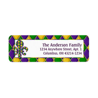 Mardi Gras Fleur d2 Return Address Labels