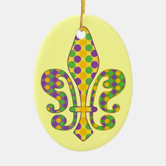 Mardi Gras Fleur de dots Ceramic Ornament