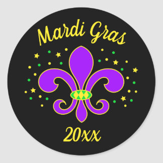 Mardi Gras Fleur-de-lis Add Year Classic Round Sticker