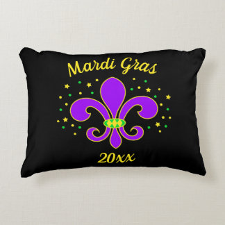 Mardi Gras Fleur-de-lis Add Year Decorative Pillow