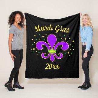 Mardi Gras Fleur-de-lis Add Year Fleece Blanket