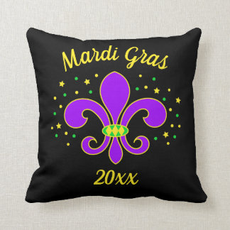 Mardi Gras Fleur-de-lis Add Year Throw Pillow