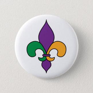Mardi Gras Fleur de Lis Button