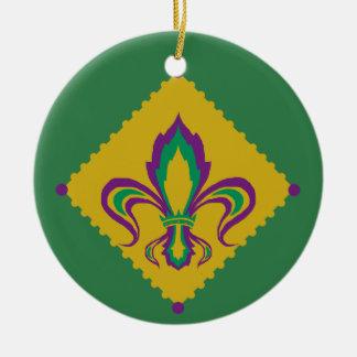 Mardi Gras Fleur De Lis Ceramic Ornament