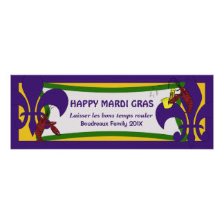 Mardi Gras Fleur de Lis Crawfish Party Banner Poster